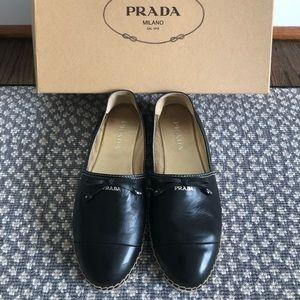 Authentic Prada leather Espadrilles in Size 35.5